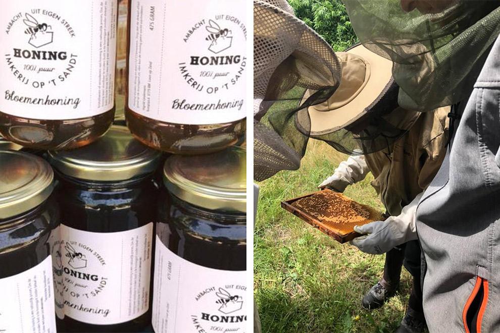 Imkerij bezig met het winnen van honing in Brabant
