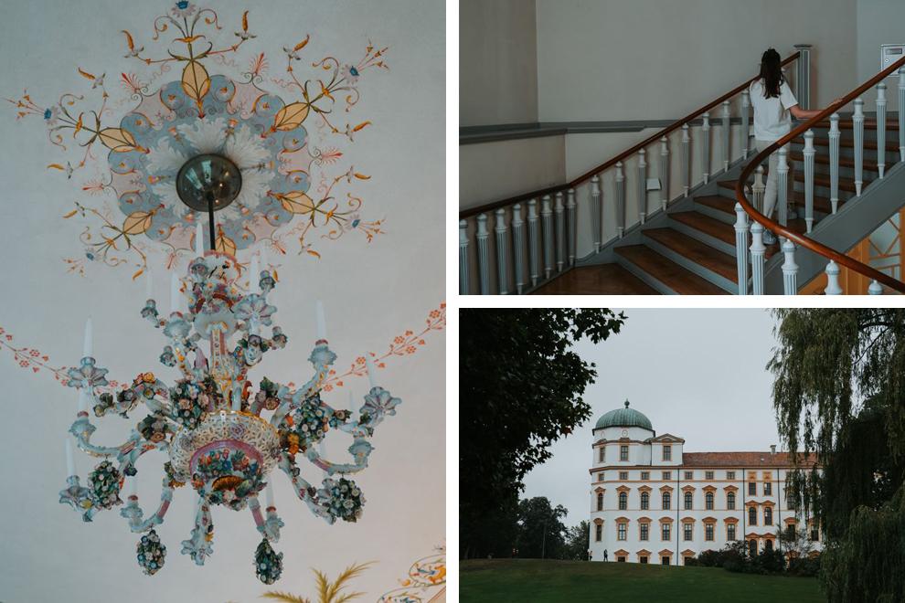 Collage kasteel Celle: kroonluchter, kasteel aanzicht