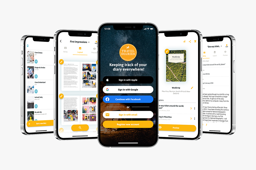 Sign up for a free account and work on a diary in the mobile app