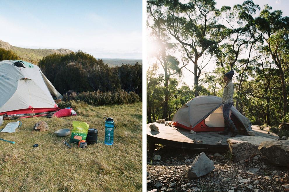 Tent op zetten in de bergen of op een houten vlonder