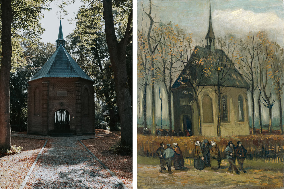 Van Goghkerkje en bijbehorend schilderij