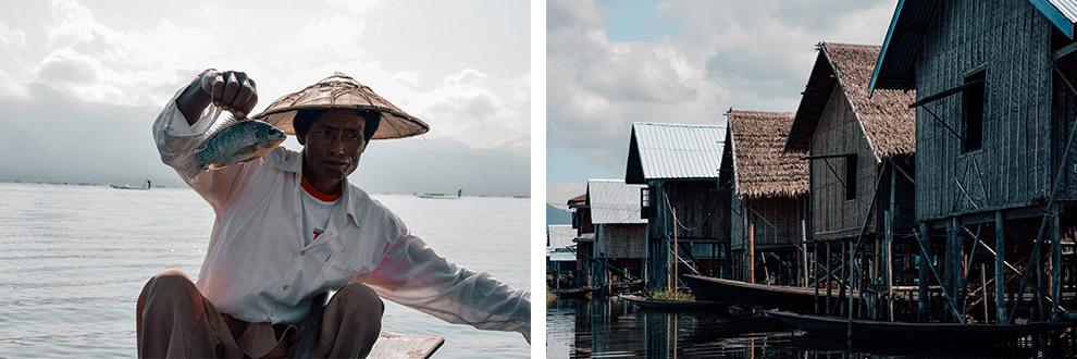 Huizen op palen en lokale vissers in vissersdorpje Lake Inle