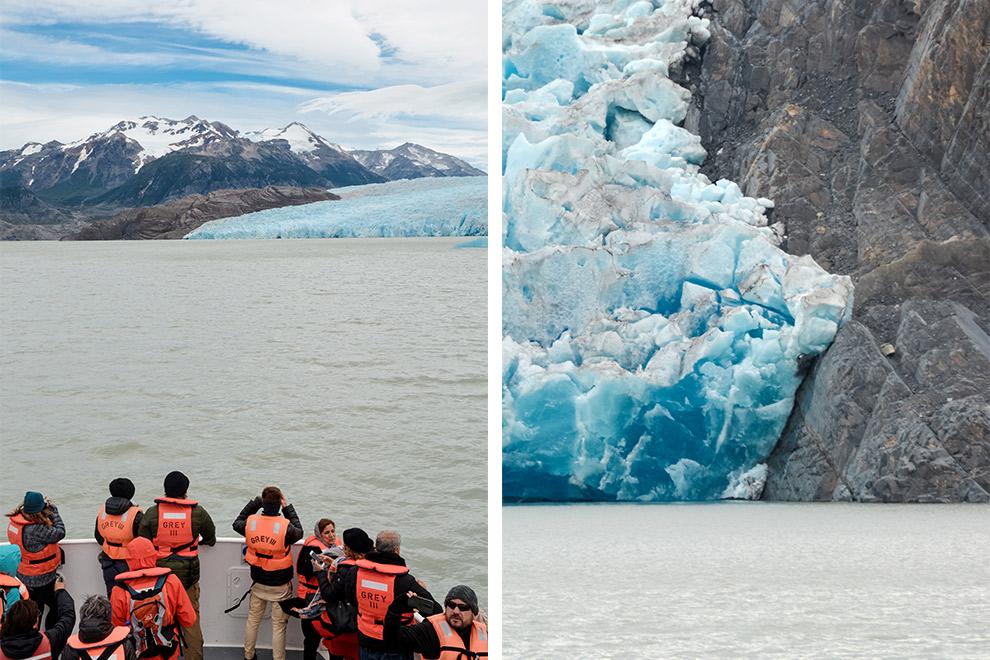 Indrukwekkend uitzicht op Grey Glacier vanaf de boot