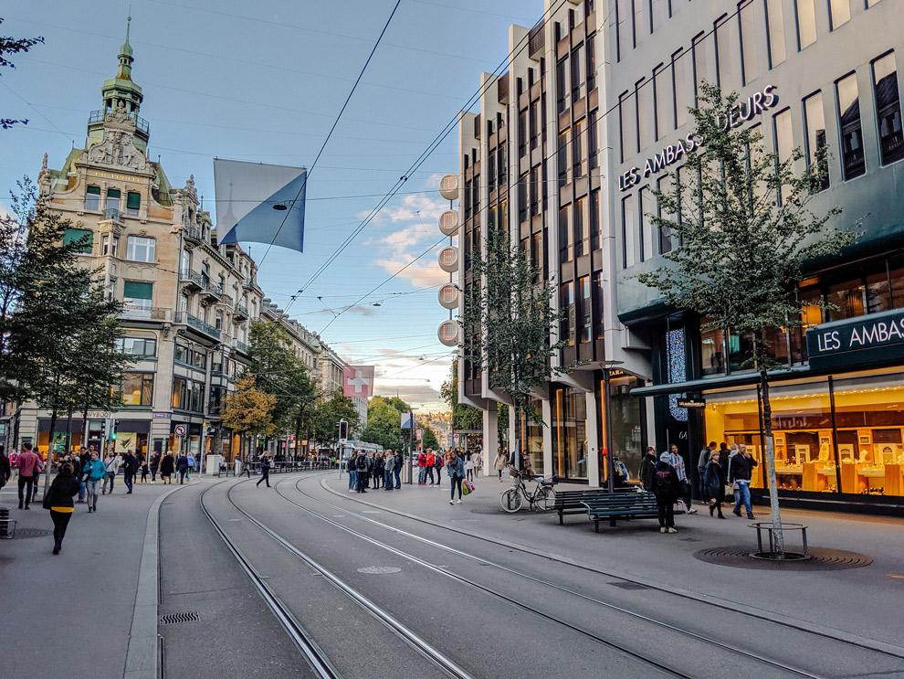 Winkelstraat Bahnhofstrasse in Zurich