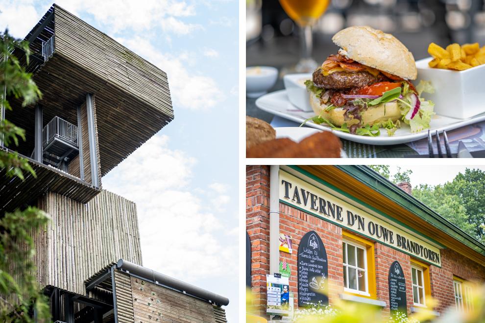Collage: brandtoren, lunchgerecht hamburger en aanzicht Taverne d'n Ouse Brandtoren