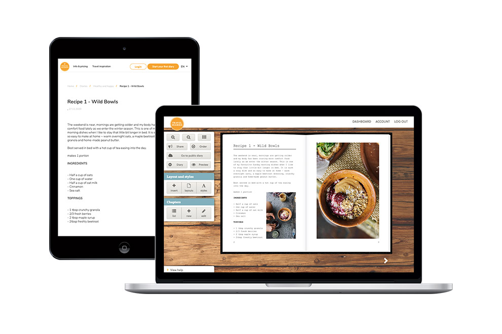 Make and share your recipe book in the web editor, on tablets or mobile phones