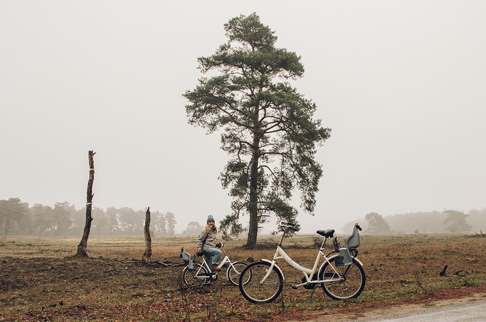 Met witte elektrische fietsen het winters Veluwe landschap ontdekken