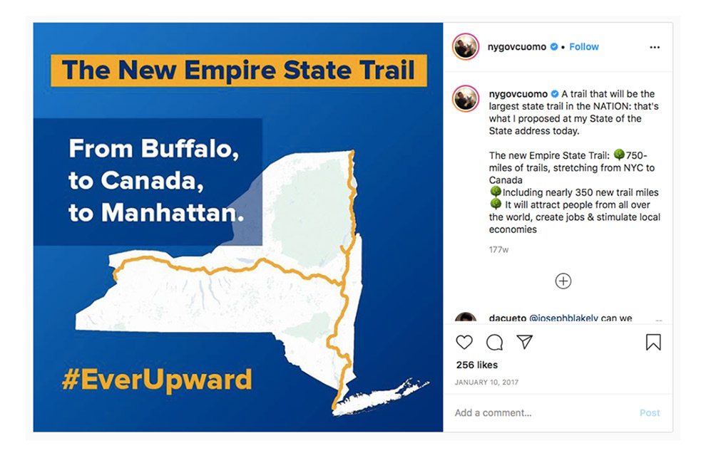 Aankondiging New Empire State Trail op Instagram