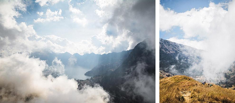 Dichte bewolking geeft Indonesisch landschap een grillig uitzicht