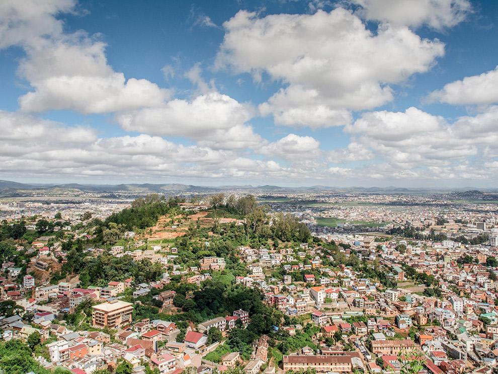 Uitzicht op hoofdstad Antananarivo in Madagaskar