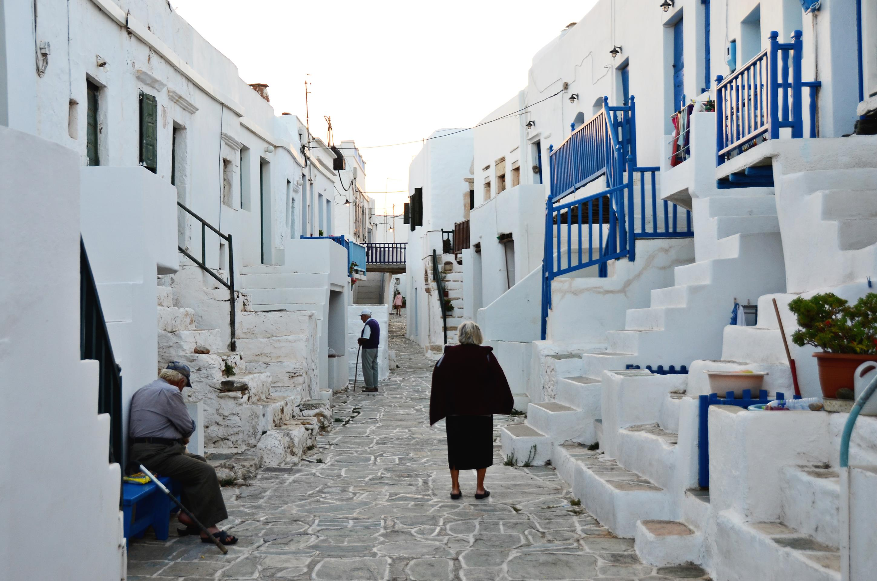 The historic district of Kastro in the village of Chora in Folegandros.