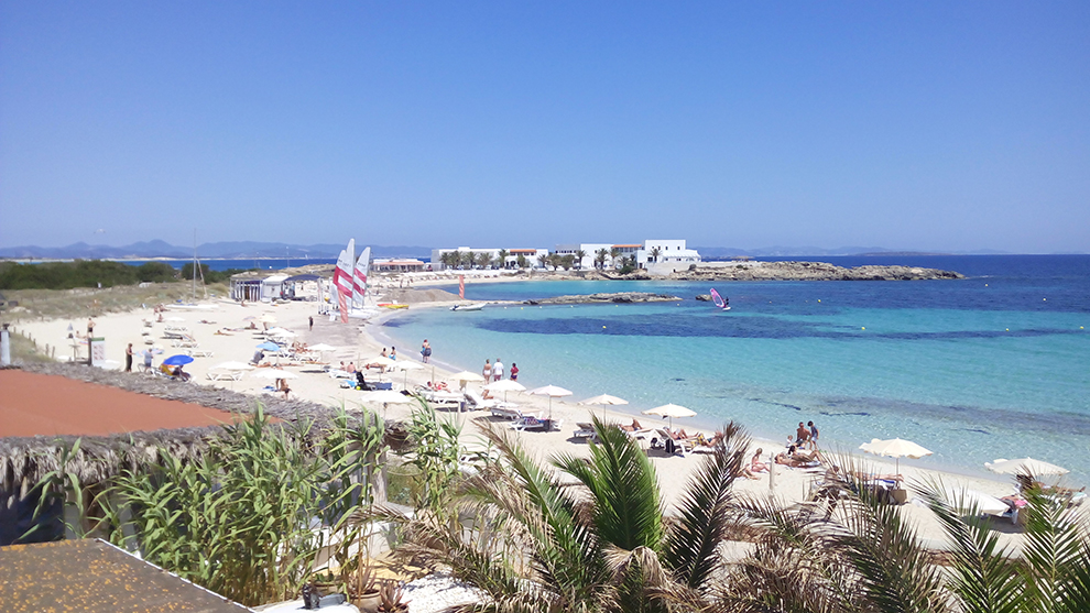 Relaxing at a beach in Formentera
