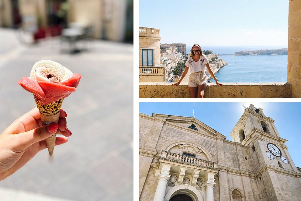 Een collage: zonnig uitzicht op Valetta met ijsje in de hand