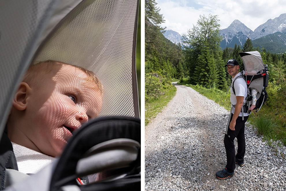 Wandelen met baby in een kinderdrager door Oostenrijk